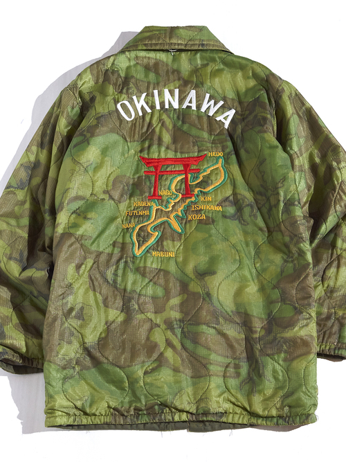 "1970s ""unknown"" OKINAWA souvenir jacket -CAMOUFLAGE-"
