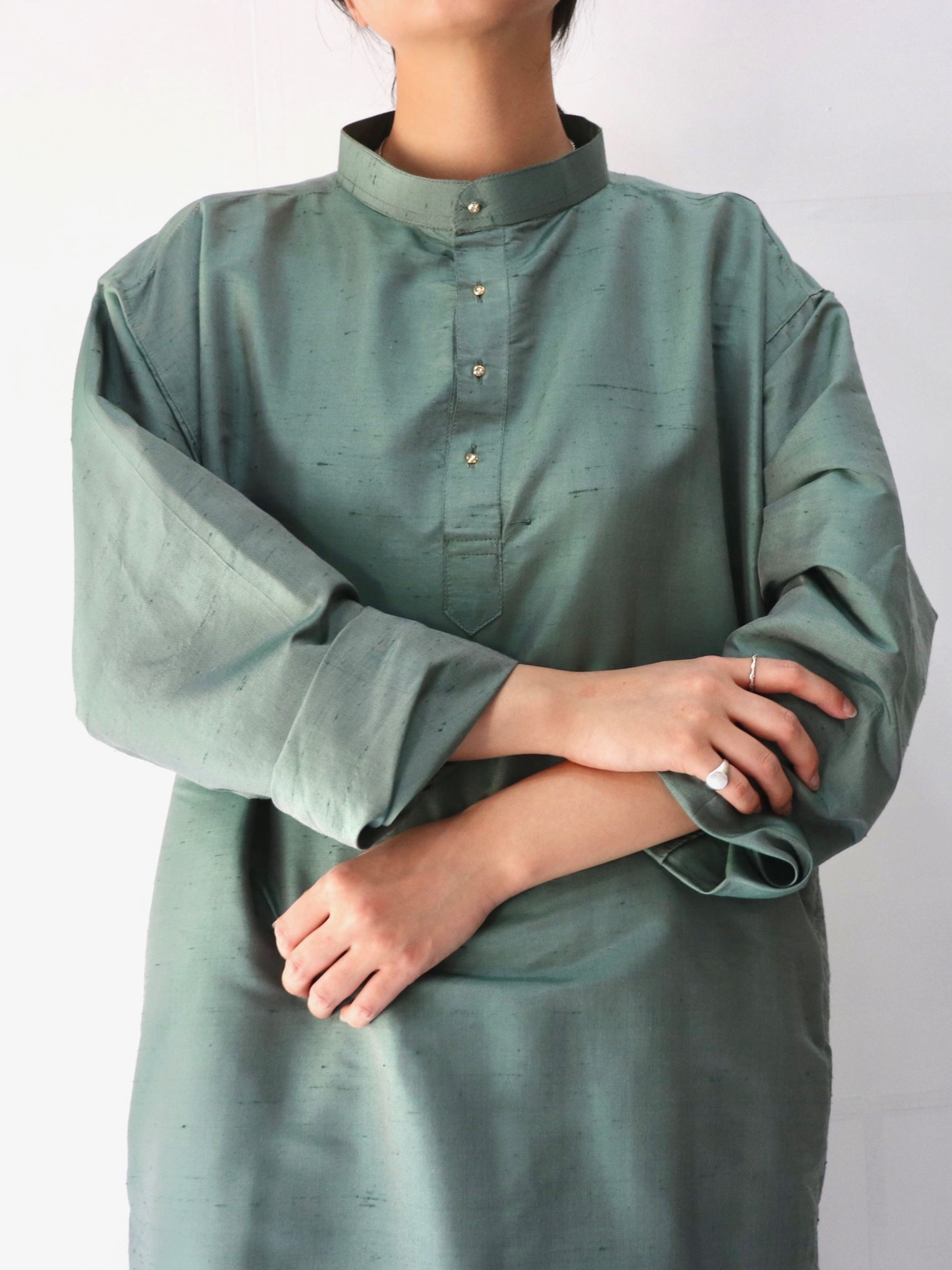 Caftan standcollar shirt one-piece
