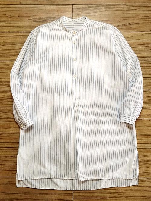 EURO Vtg / Band collar stripe grandpa shirt