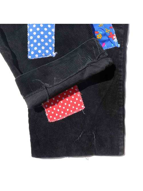 80's UNKNOWN Black Wide Wale Corduroy Patched Pants With Suspenders [59]