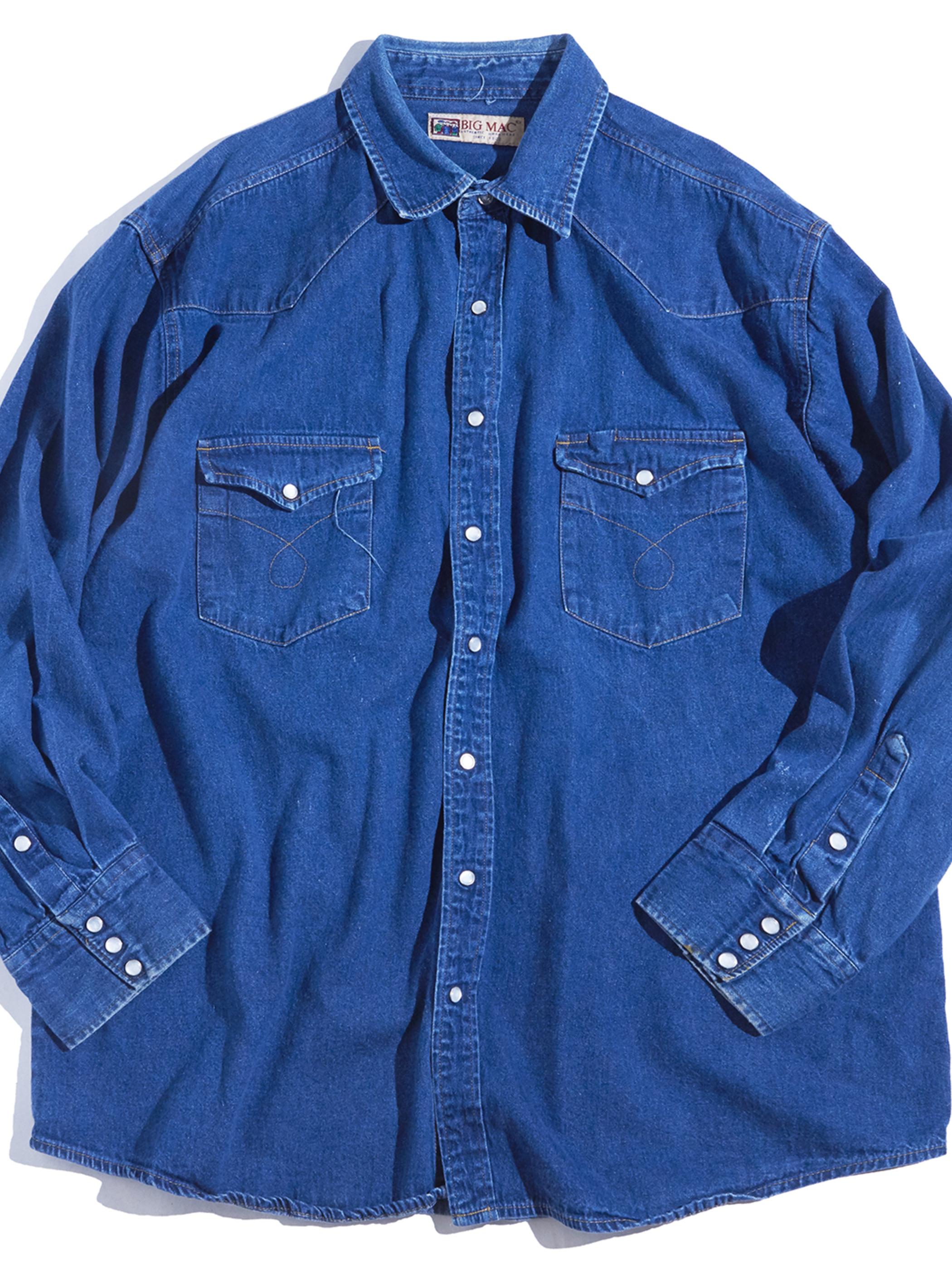 """1990s """"BIG MAC"""" denim western shirt -BLUE-"""