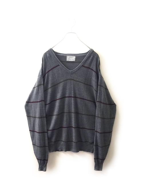【SALE】Christian Dior アクリル Vネックニット ブルー size L  メンズ 古着