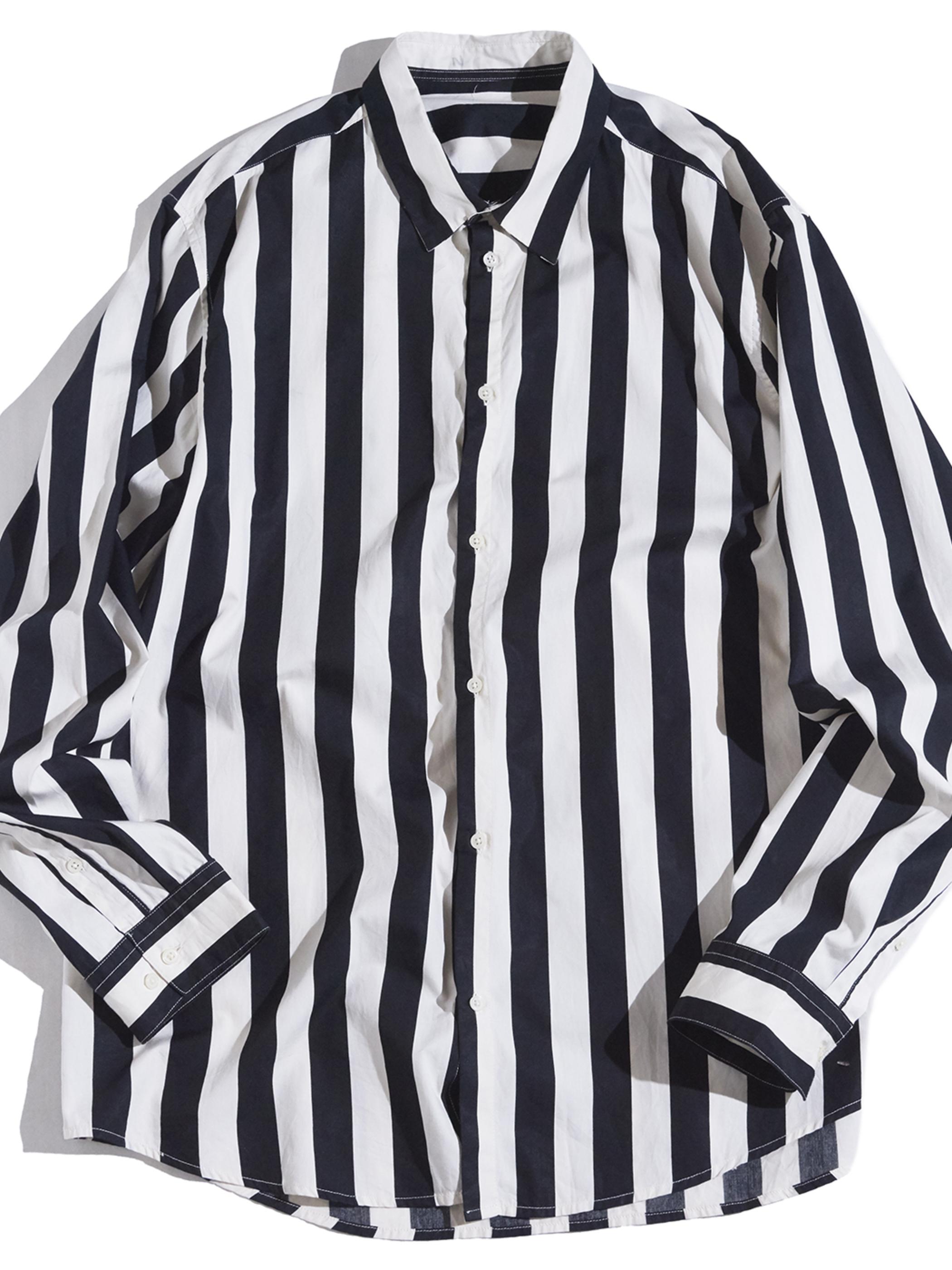 "1960s ""unknown"" referee stripe shirt -WHITE×BLACK-"