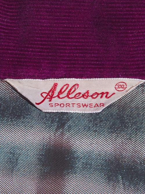 "1940s ""Alleson"" corduroy shirt -BURGUNDY-"