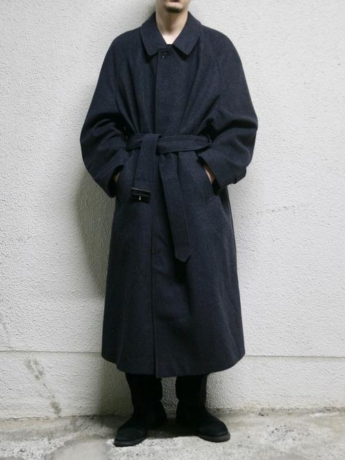 "1980s ""Aquascutum"" wool/cashmere? melton bal collar coat -CHACOAL-"