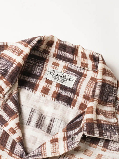 Custom Needle / 1960'sVintage / Open Collar Print Flannel Shirt