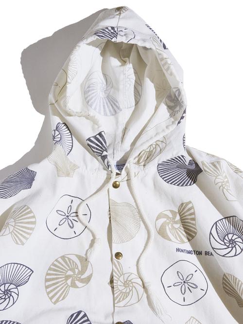"1990s ""MICIGAN RAG"" hooded pattern jacket -WHITE-"