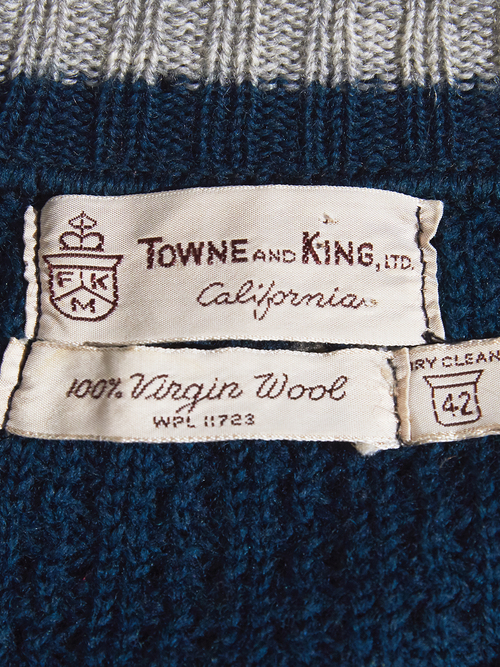 "1960s ""TOWNE AND KING"" wool zip up knit -GREEN-"