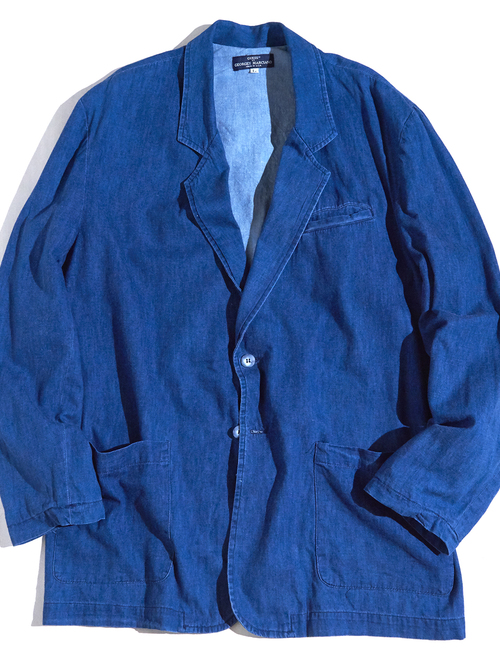 """1990s """"GUESS"""" denim tailored jacket -BLUE-"""