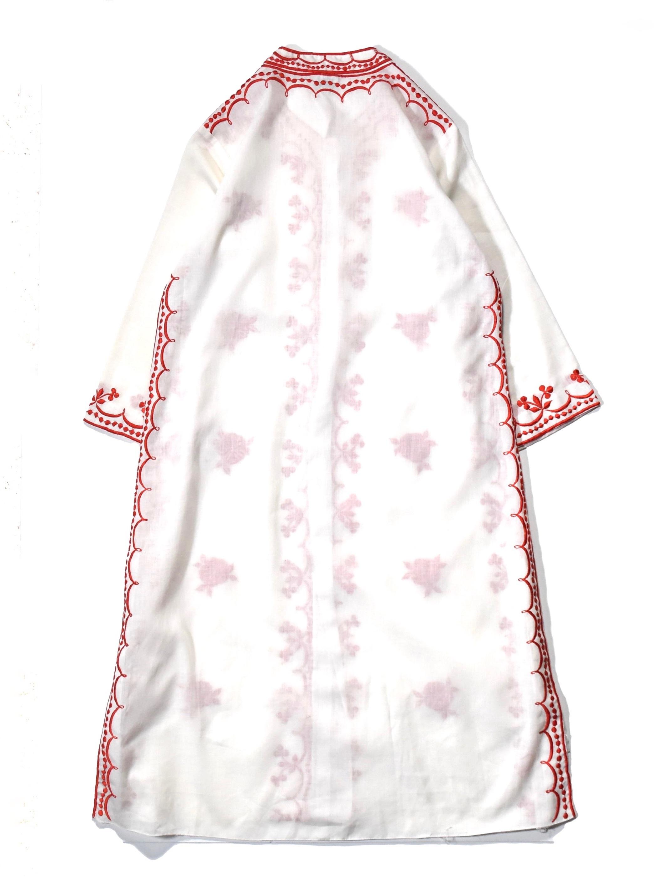 バンドカラー 刺繍 ワンピース / band collar embroidery one-piece