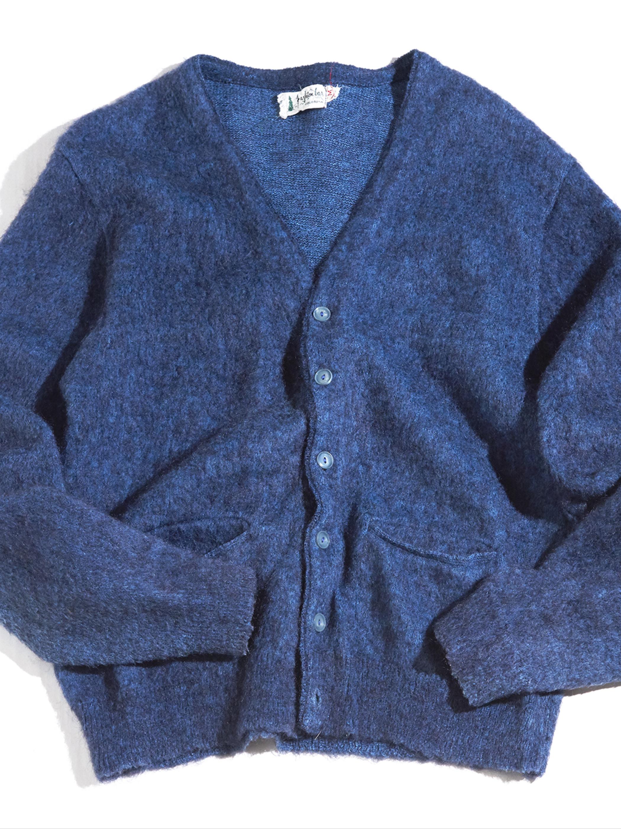 """1960s """"Fashion Les"""" mohair knit cardigan -BLUE- <SALE¥17000→¥13600>"""