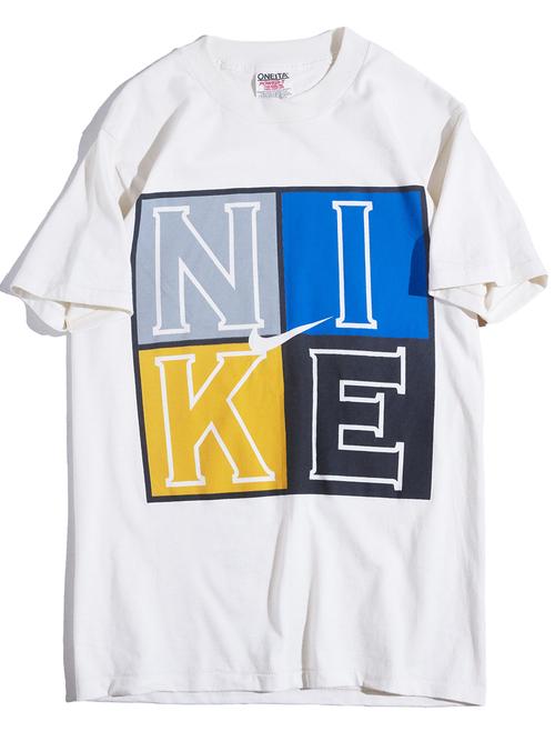 """1990s """"NIKE"""" print tee -WHITE-"""