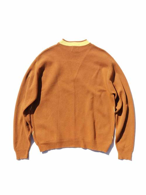 60's BRENT V-Lined Crew Neck Knit Sweater [XL]