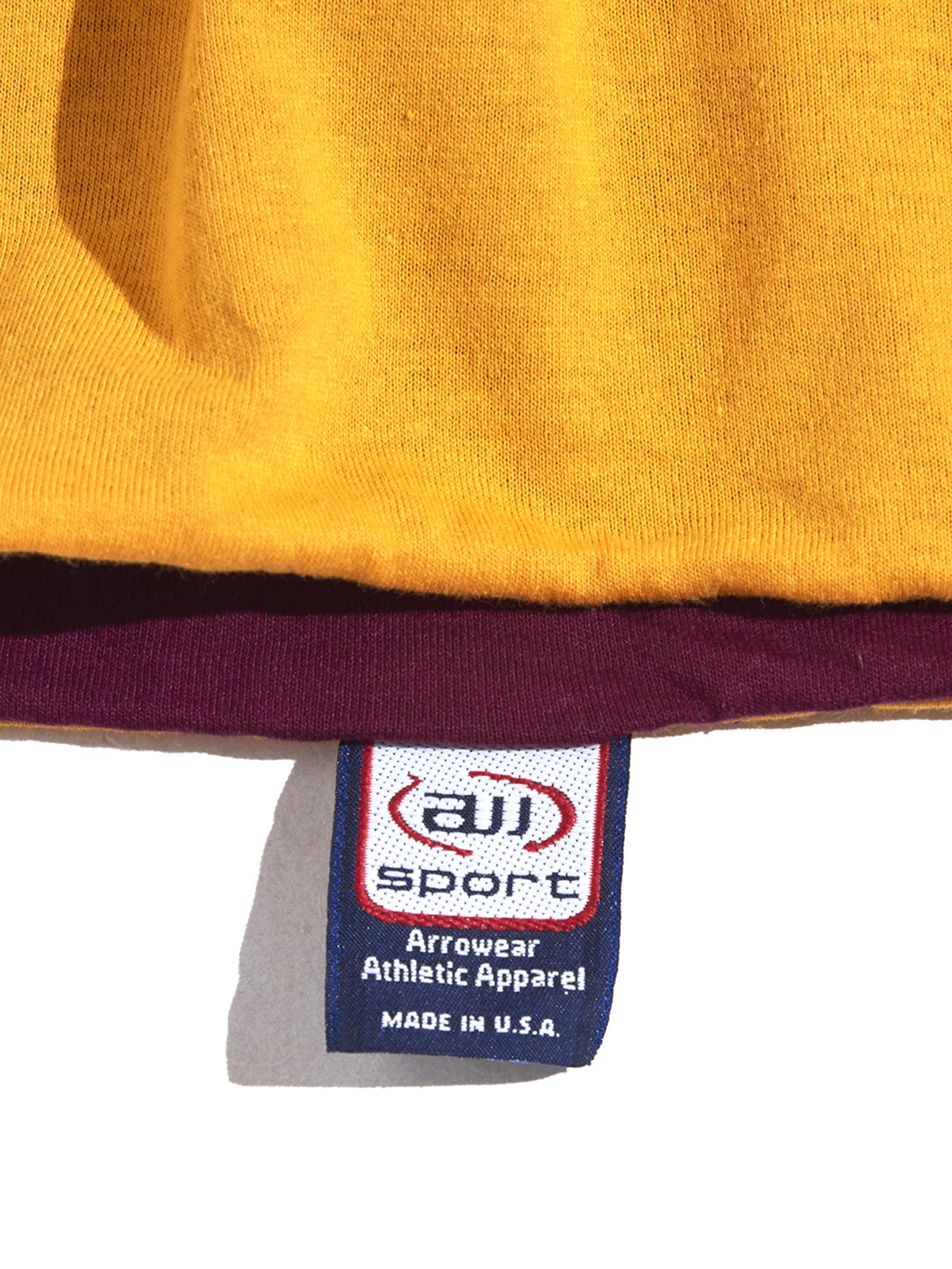 "1980s ""all sport"" double face football tee -BURGANDY×MUSTARD-"