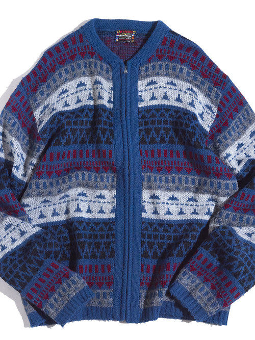 "1960s ""McGREGOR"" acrylic nordik pattern zip up knit -BLUE-"