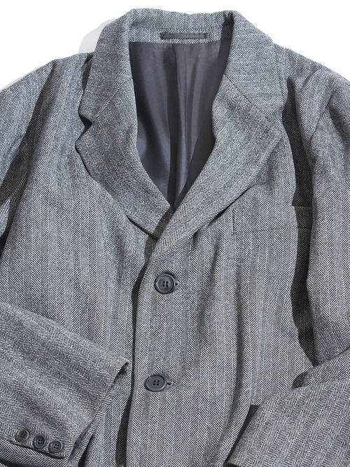 "1970s ""STAFFORD"" herringbone tweed wool coat -GREY- <SALE¥28000→¥22400>"