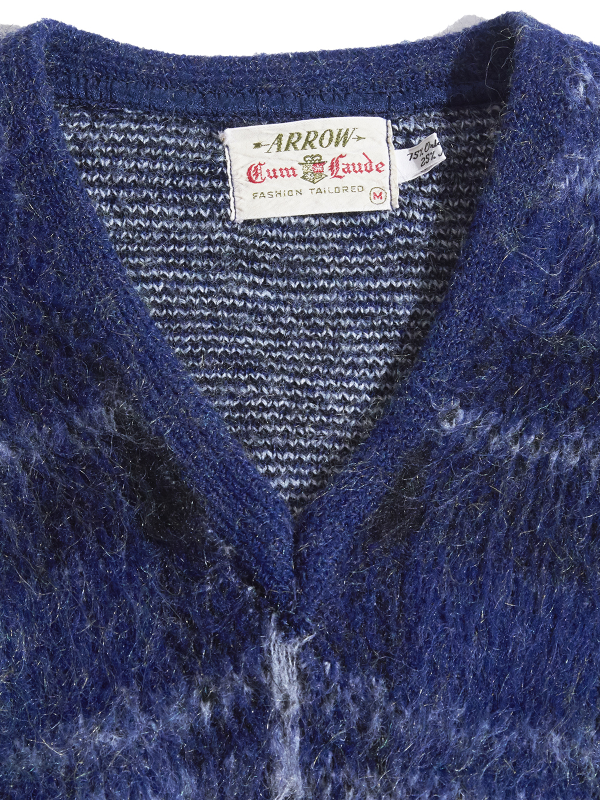 "1960s ""ARROW"" mohair v-neck knit -NAVY-"