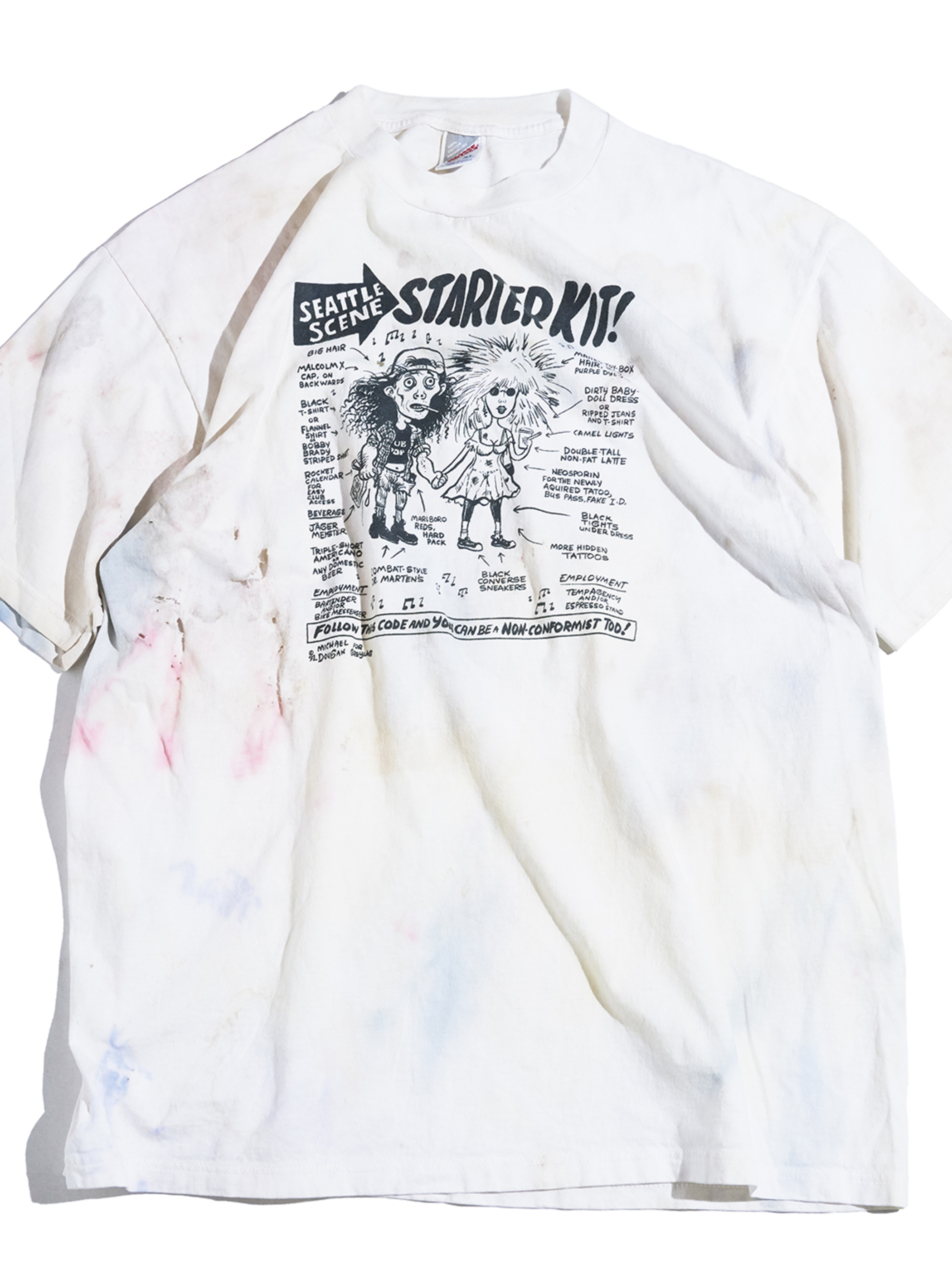 """1990s """"unknown"""" print tee -WHITE-"""