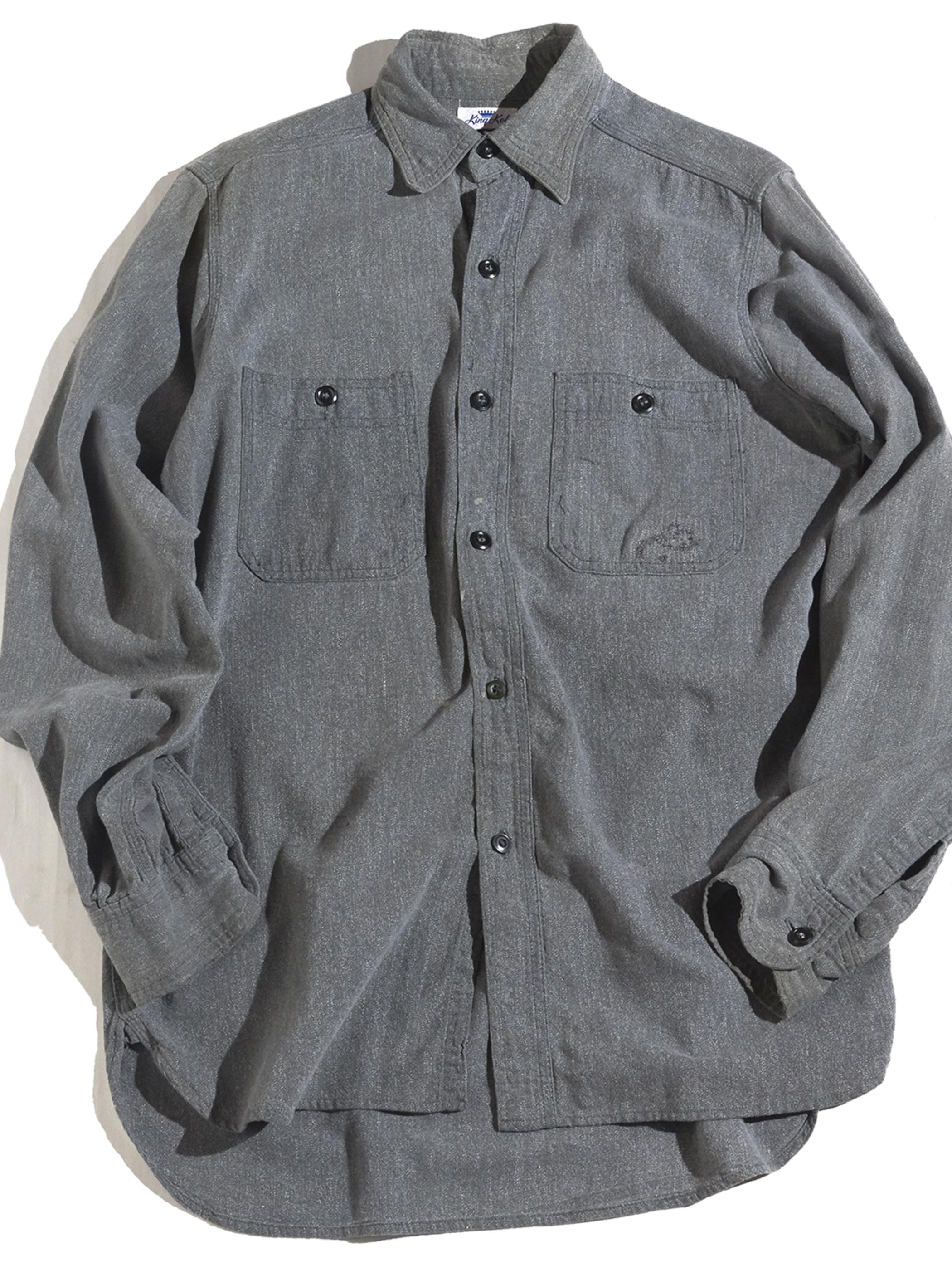 """1950s """"King Kole"""" black chambray work shirt -BLACK- <SALE¥45000→¥35000>"""