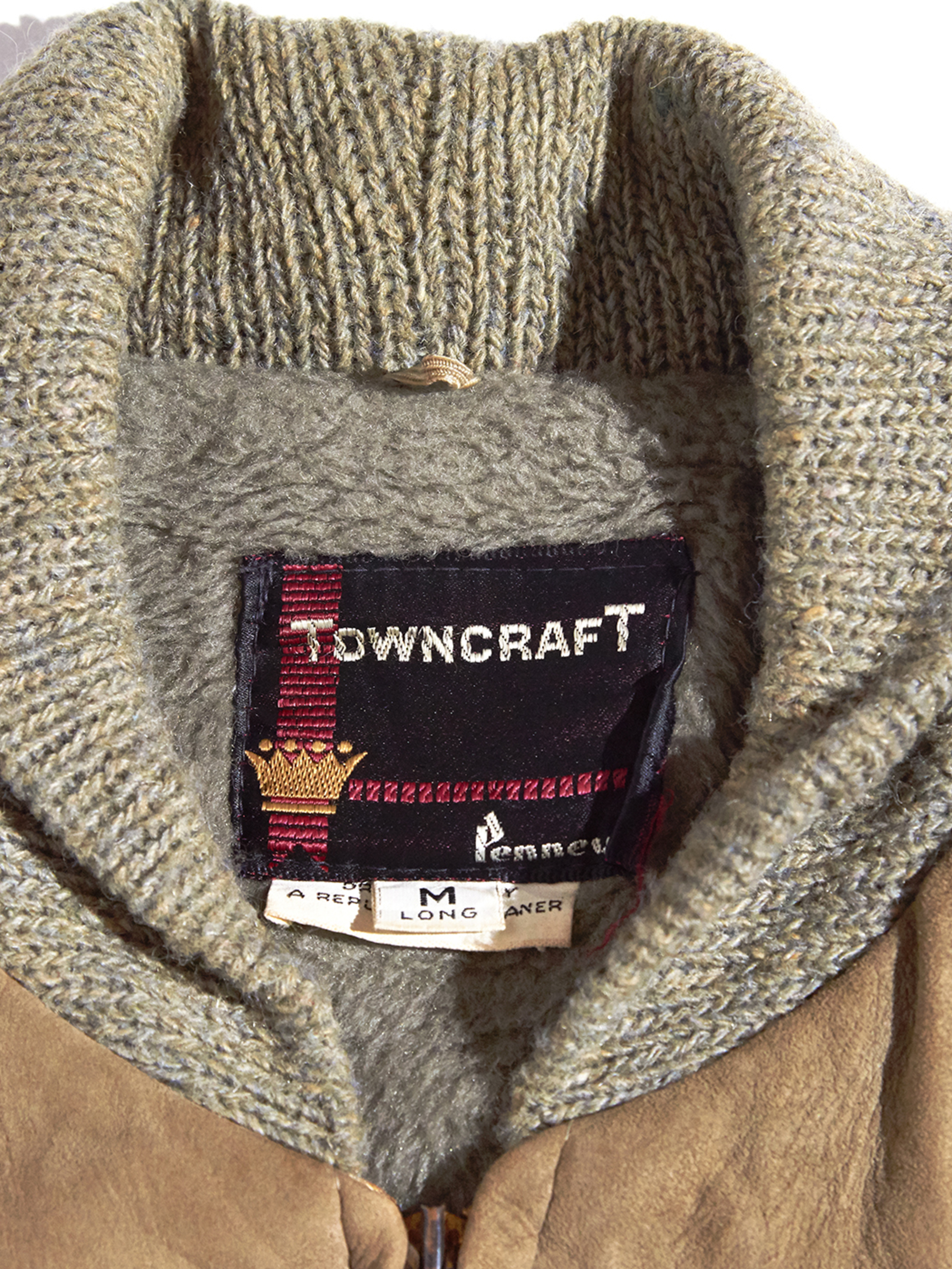 "1960s ""TOWNCRAFT"" nubak/wool knit jacket -BEIGE×GREY- <SALE¥16000→¥12800>"
