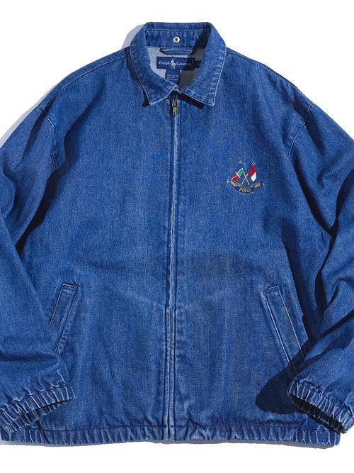 "1990s ""Ralph Lauren"" denim drizzler jacket -BLUE-"