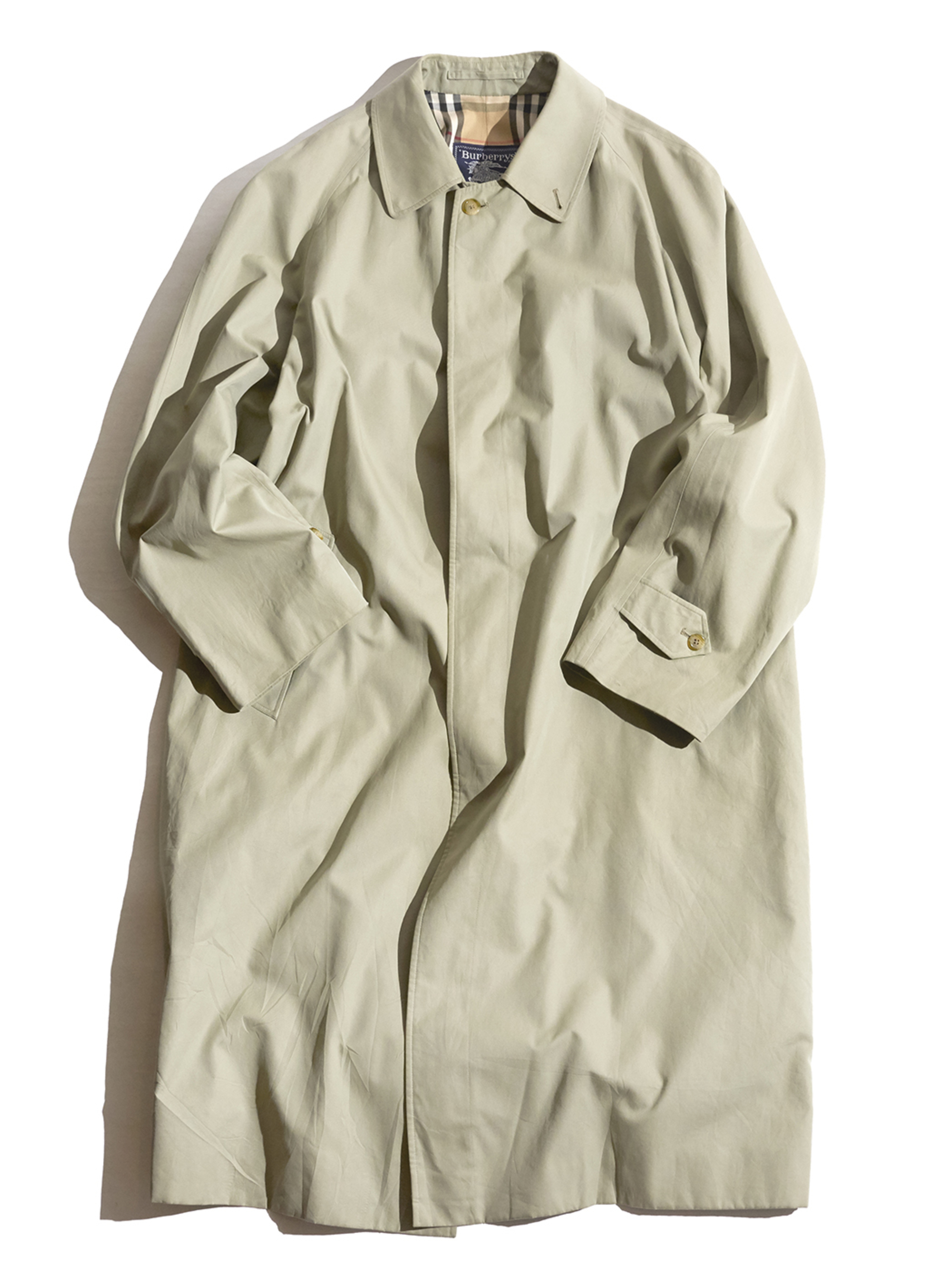 "1990s ""Burberrys"" all cotton balcollar coat -KHAKI-"