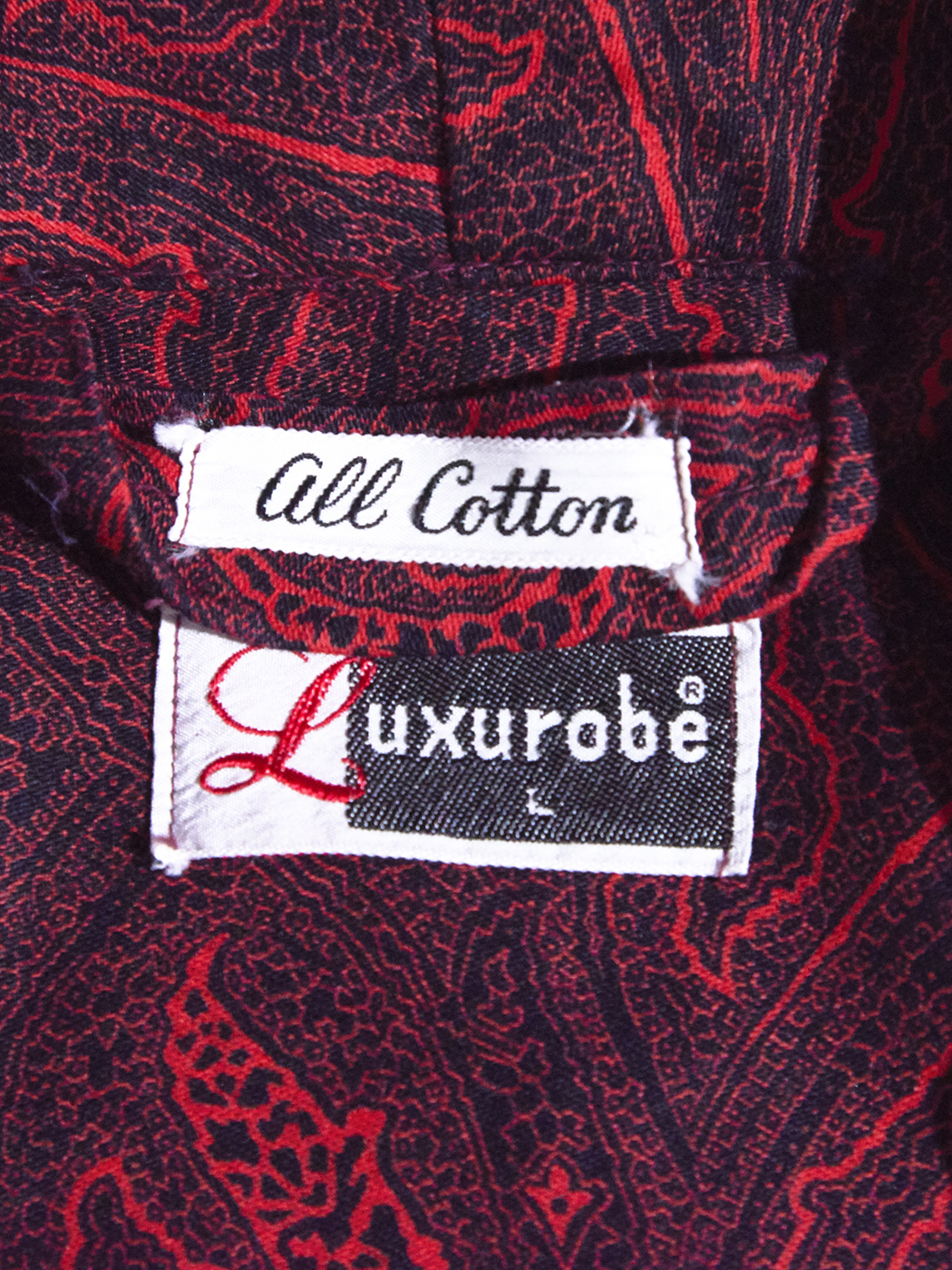 "1960s ""Luxurobe"" cotton print flannel gawn -RED- <SALE¥18000→¥14400>"