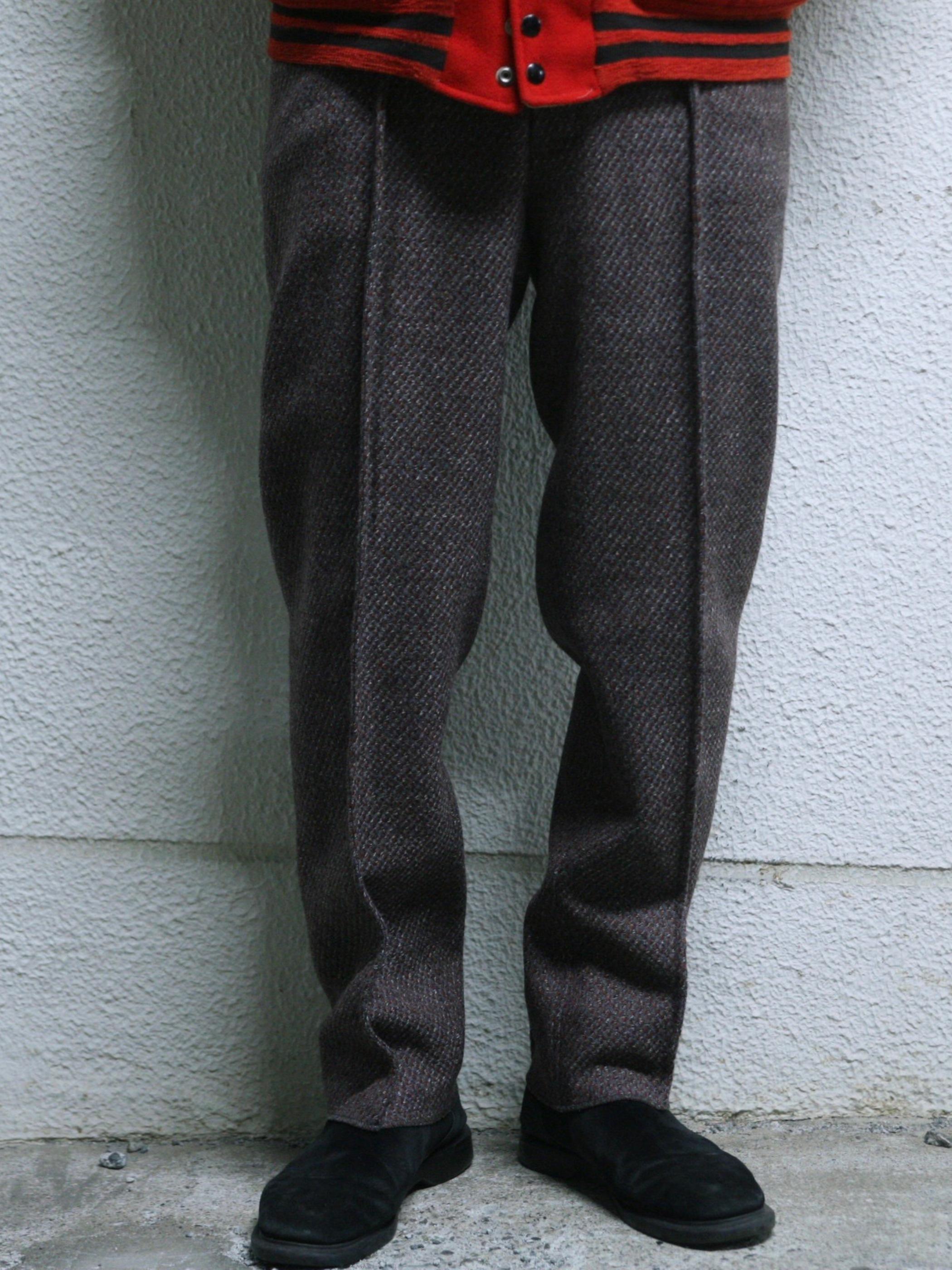 """1970s """"unknown"""" tweed wool trousers -PURPLE-"""