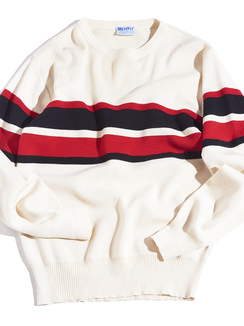 "1970s ""meister"" border wool knit -WHITE-"