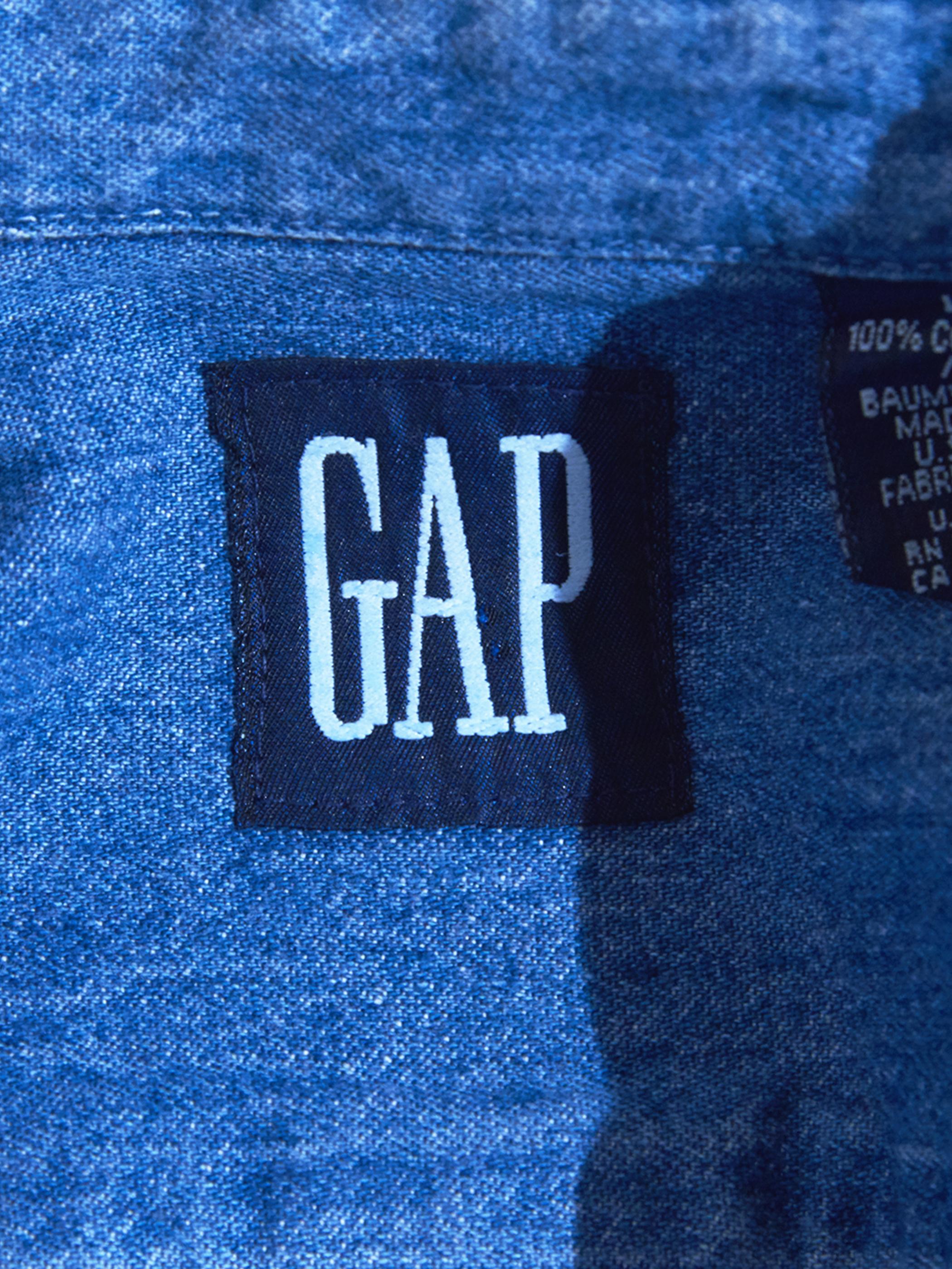 """1990s """"GAP"""" denim B.D. shirt -BLUE-"""