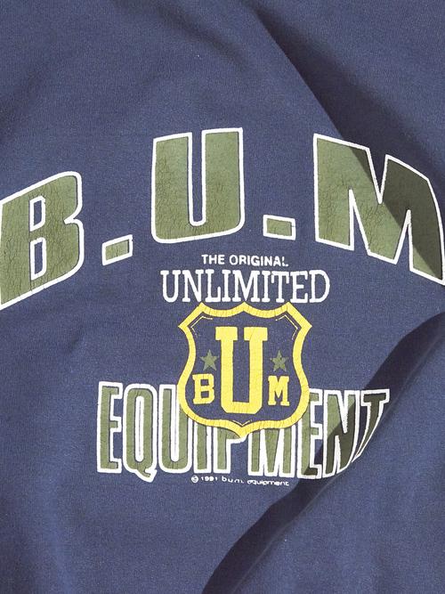 """1990s """"B.U.M. EQUIPMENT"""" print sweat -BLACK-"""