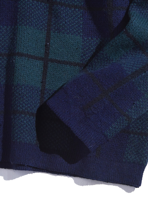 "1990s ""POLO by Ralph Lauren"" lambs wool V-neck check knit -BLACK WATCH-"