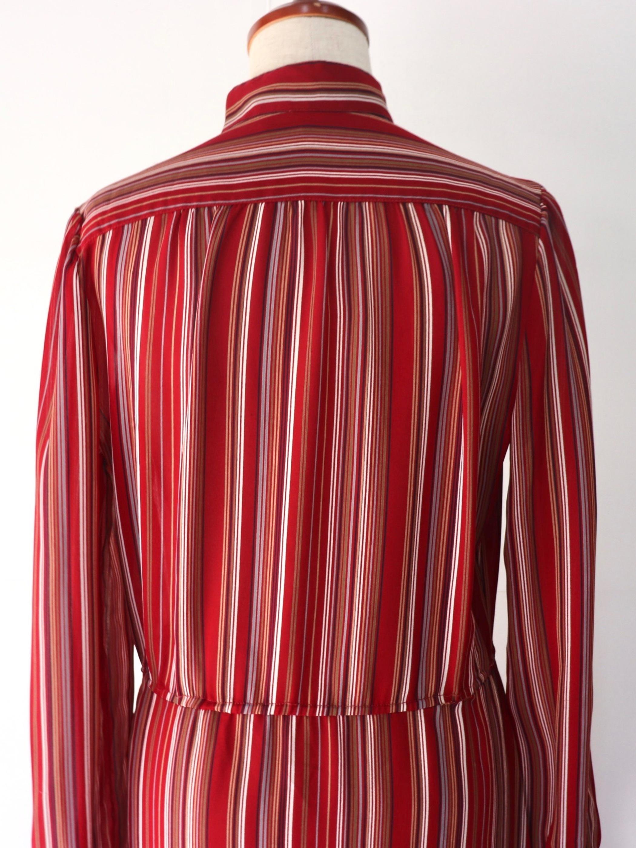 【MARKET】Stand collar mulch stripe one-piece