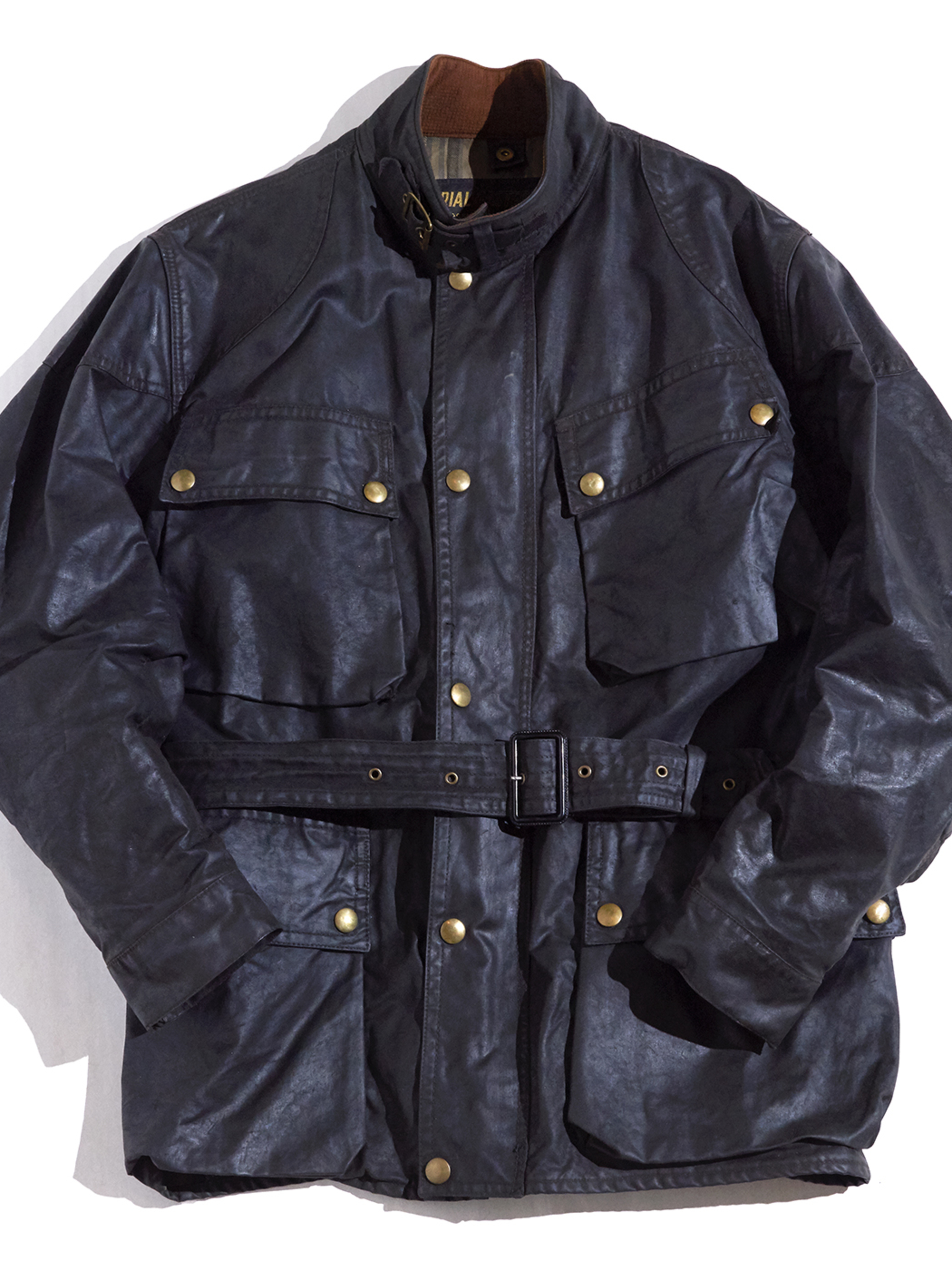 "1960s ""Belstaff"" TRIALMASTER motorcycle oiled cloth jacket -BLACK-"