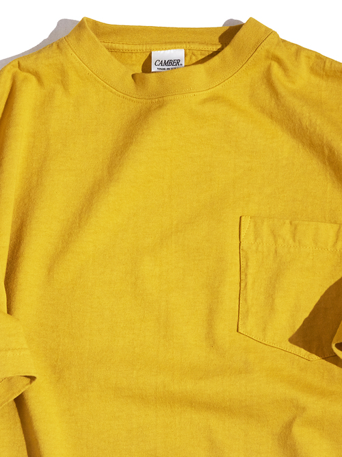 "NEW ""CAMBER"" garment dyed 8oz.MAX WEGHT pocket tee -YELLOW-"