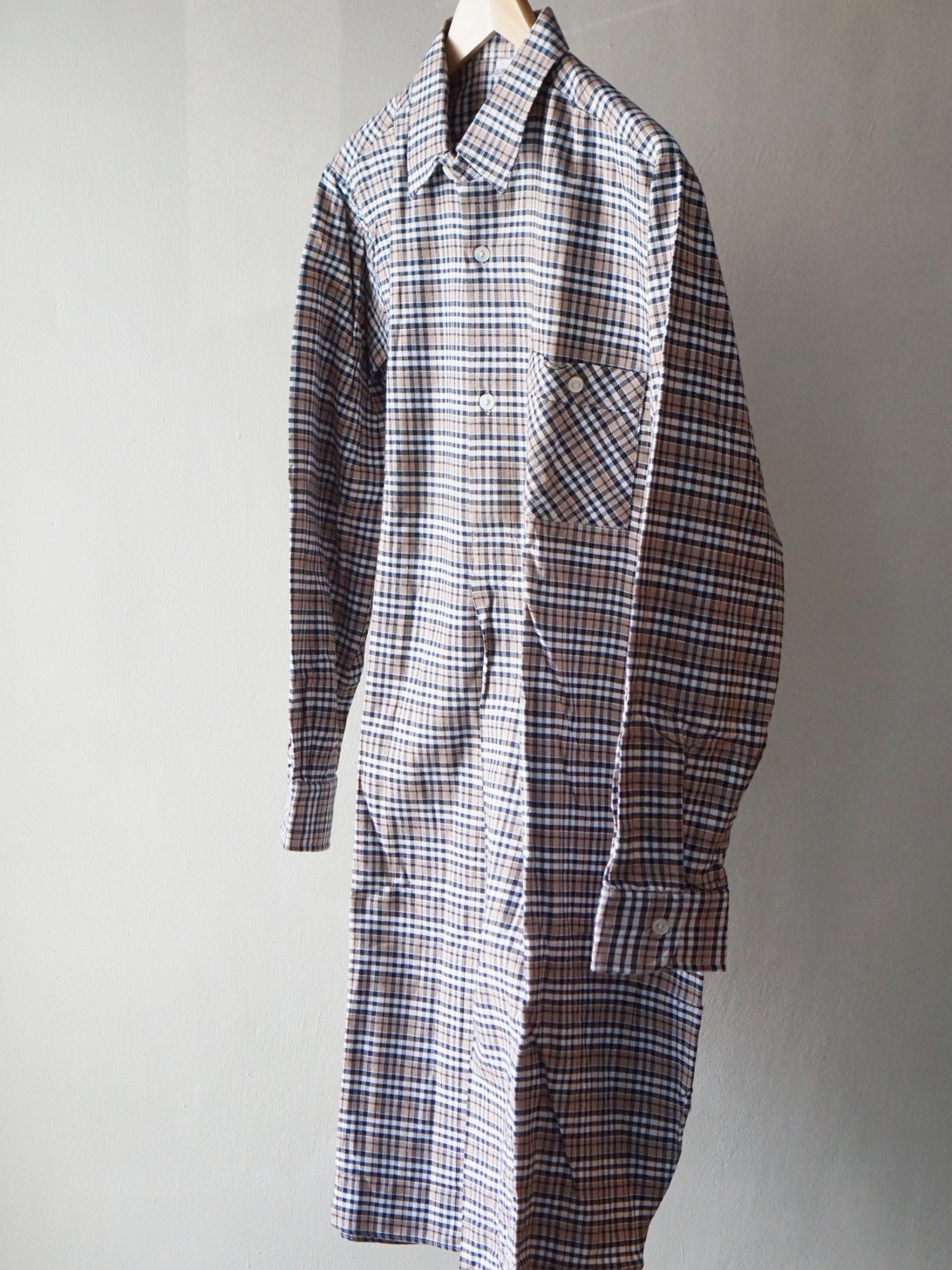 Dead Stock 1960s French Long Shirts Brown  02
