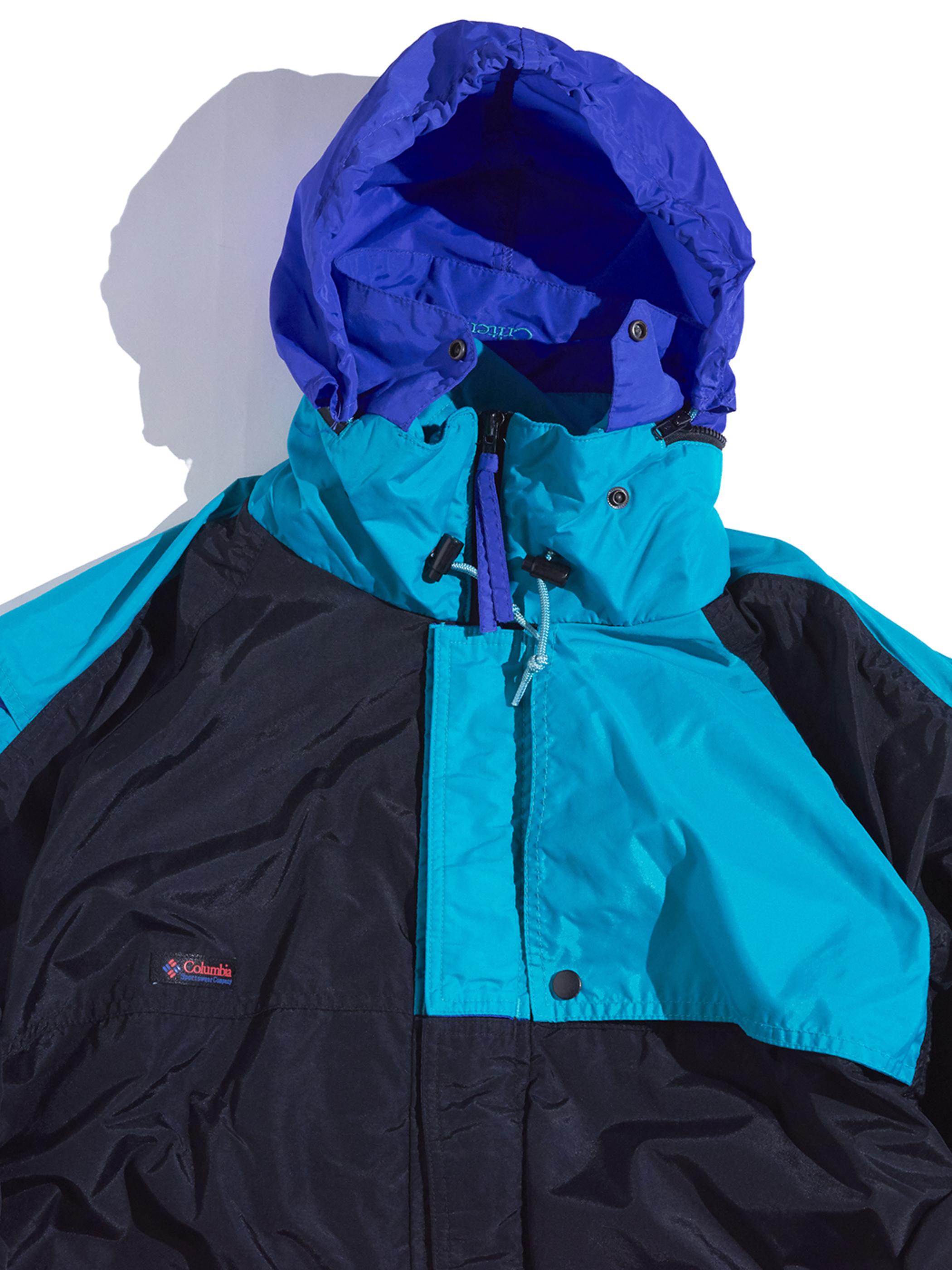 """1980s """"Columbia"""" nylon shell jacket -BLACK-"""