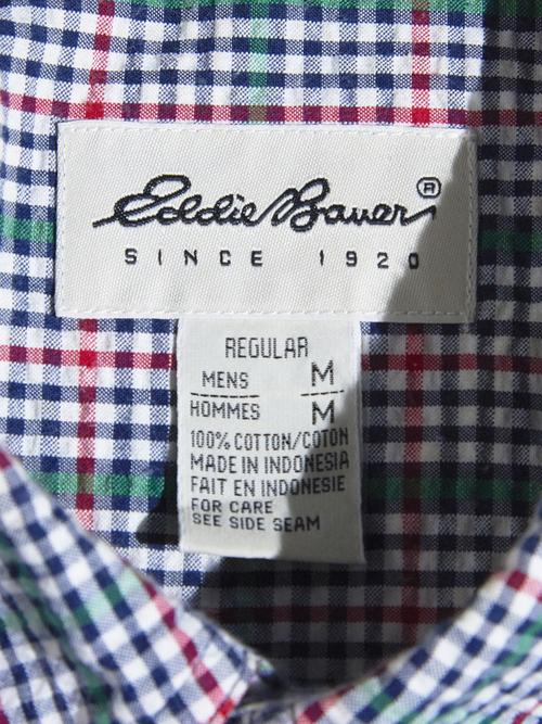 """1990s """"Eddie Bauer"""" s/s seersucker check shirt -GREEN-"""