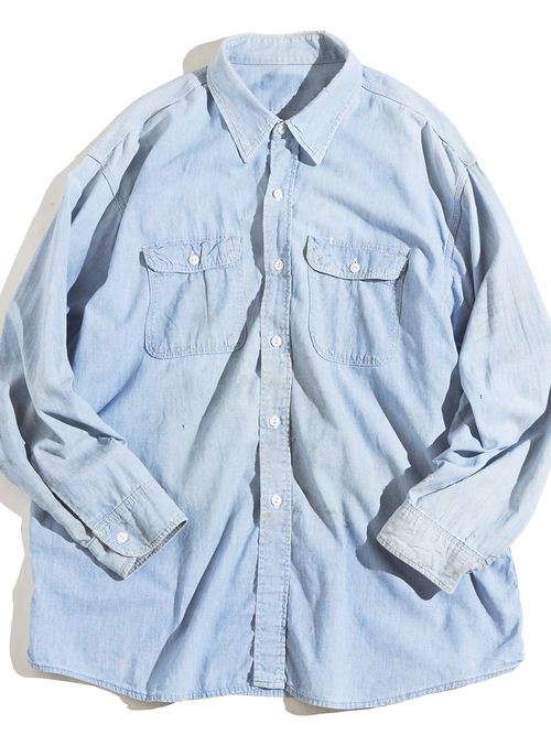 """1970s """"unknown"""" cotton chambray shirt -FADE BLUE-"""