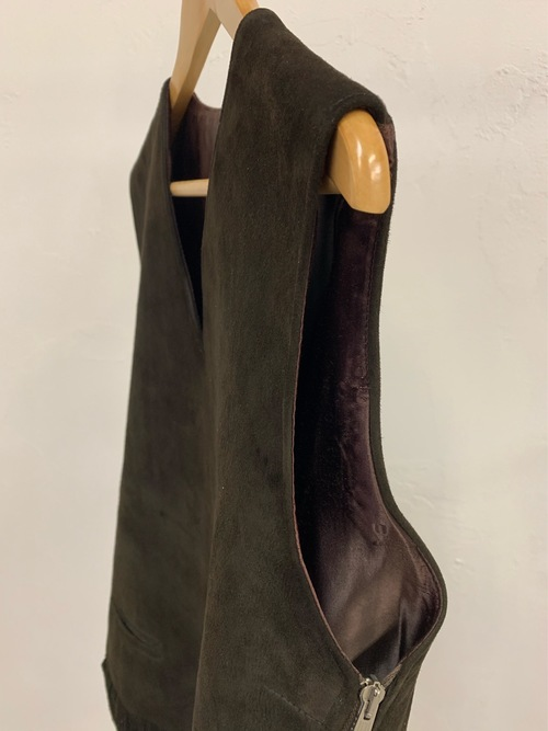 1950's〜 British fringe nubuck leather vest with side zip