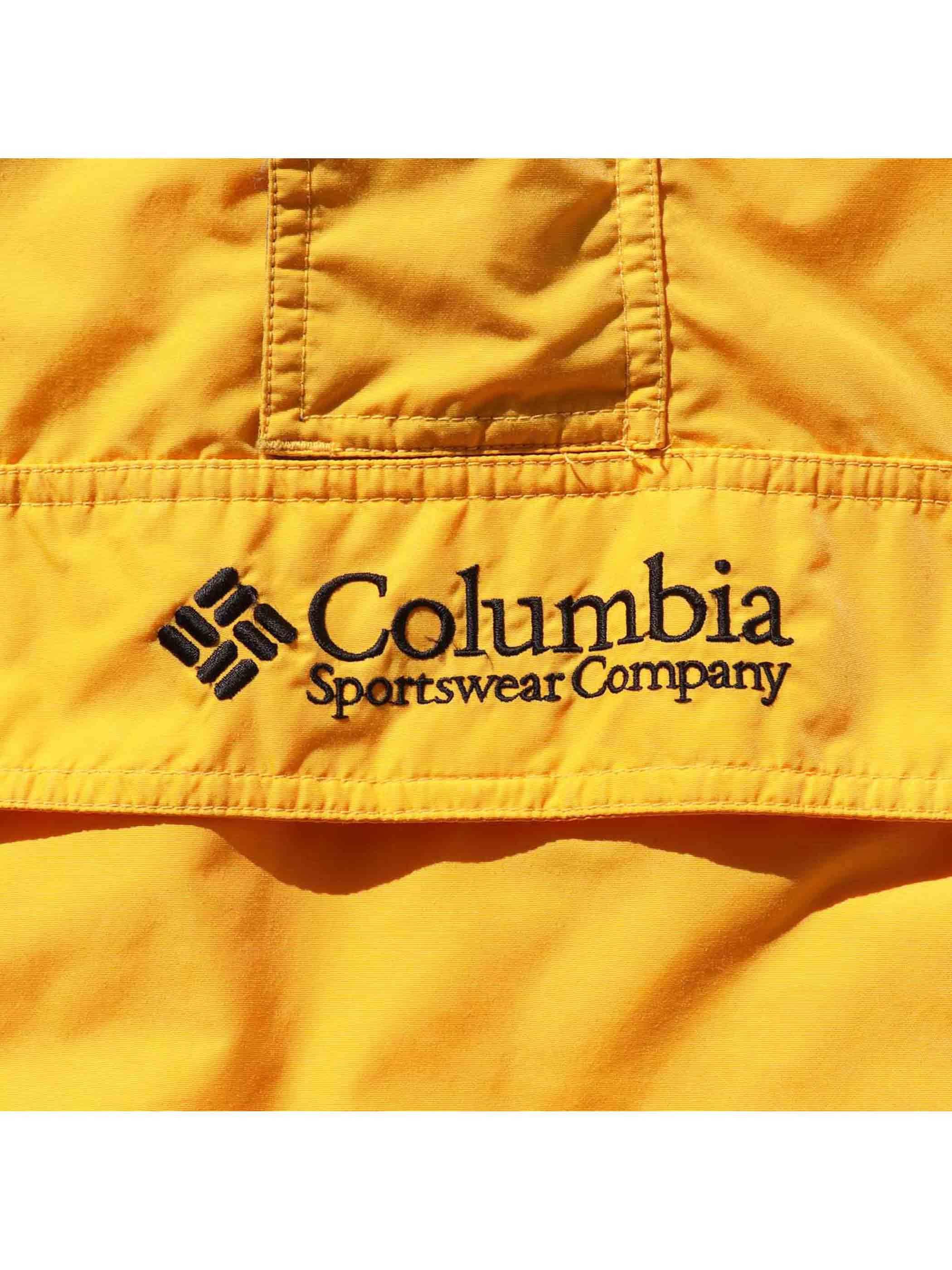 90's COLUMBIA イエロー×ブラック ナイロンアノラックパーカー [M]
