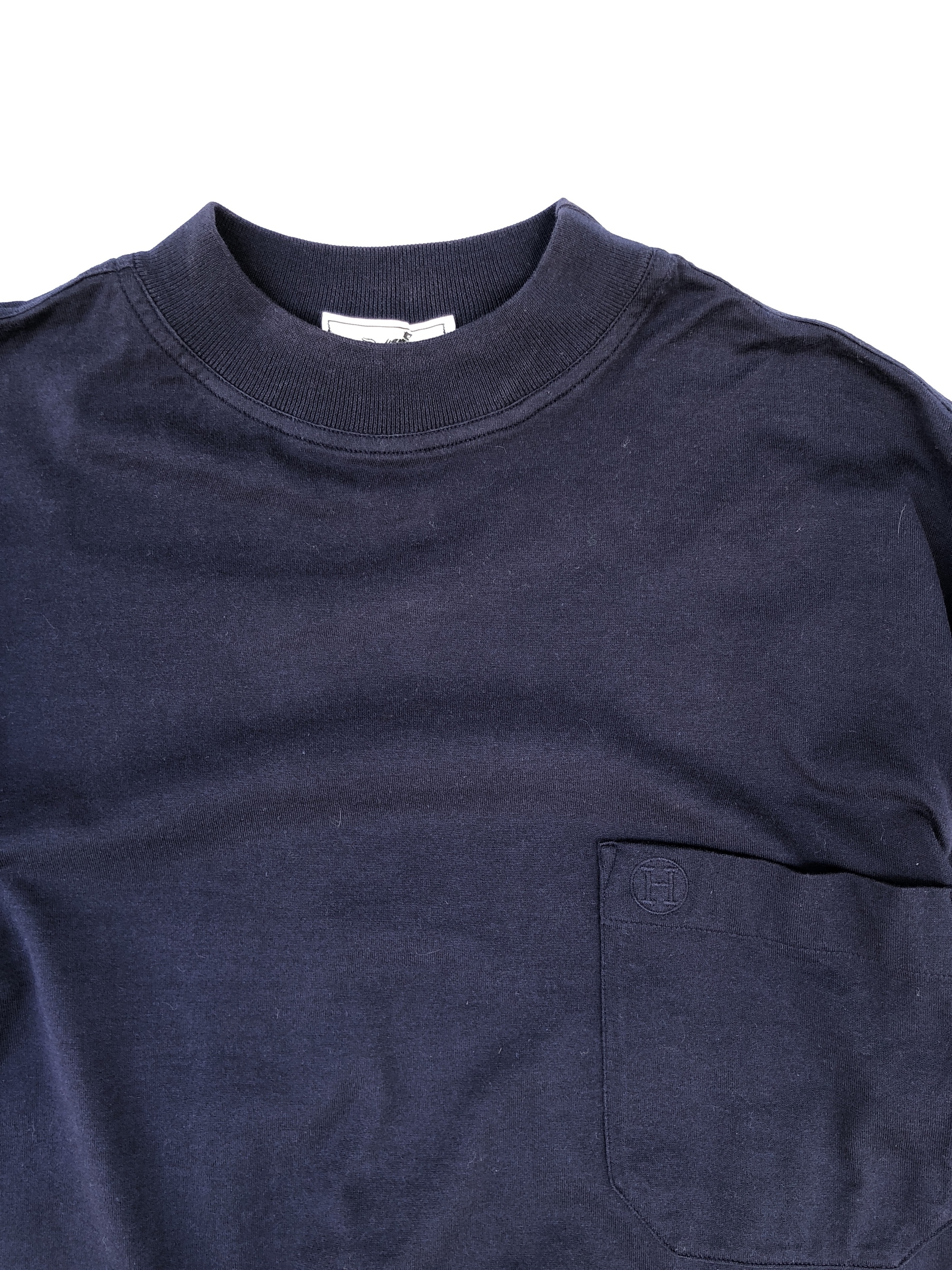 "HERMES / high neck pocket tee ""navy"" (USED)"