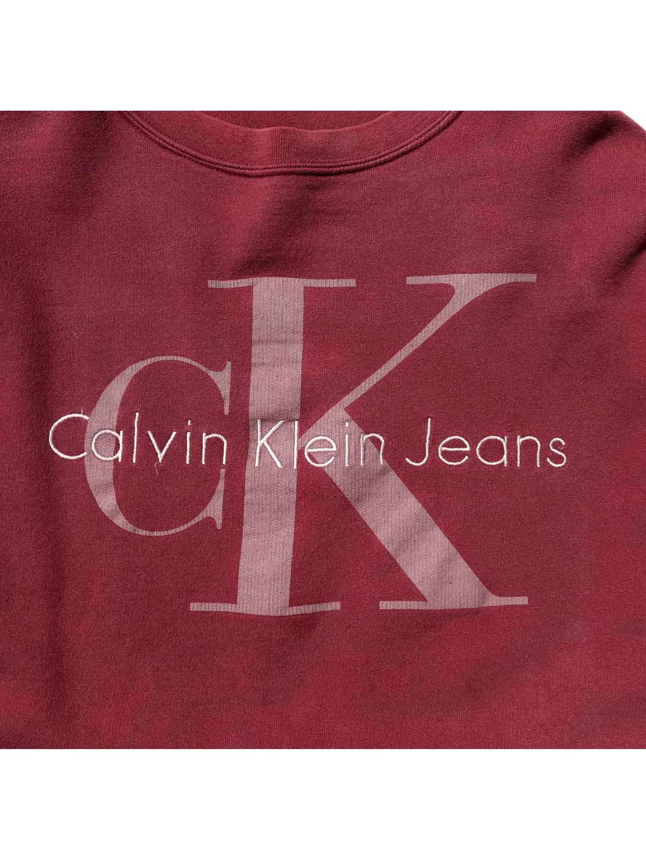 90's CALVIN KLEIN JEANS クルーネックスウェット バーガンディ [XL]