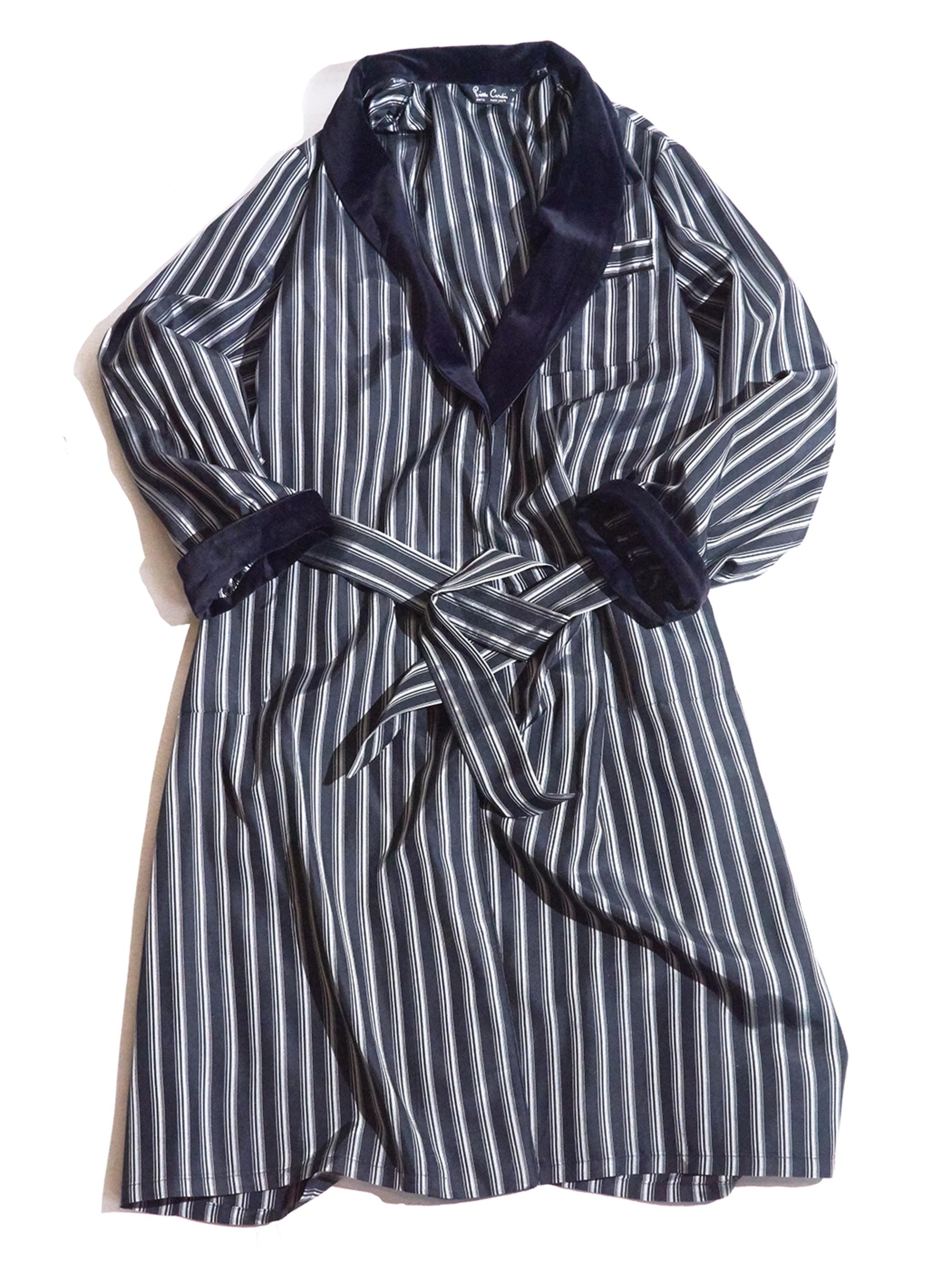 """1980s """"Pierre Cardin"""" stripe gown -BLACK-"""