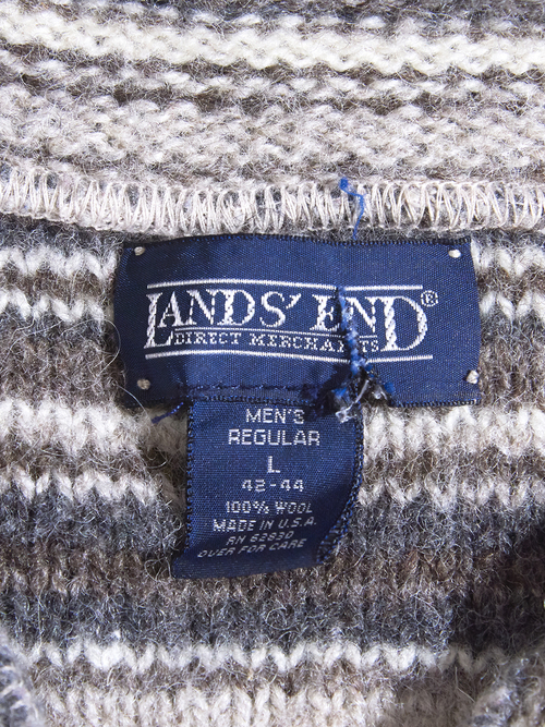 """1990s """"LANDS' END"""" wool pullover high neck knit -BROWN-"""