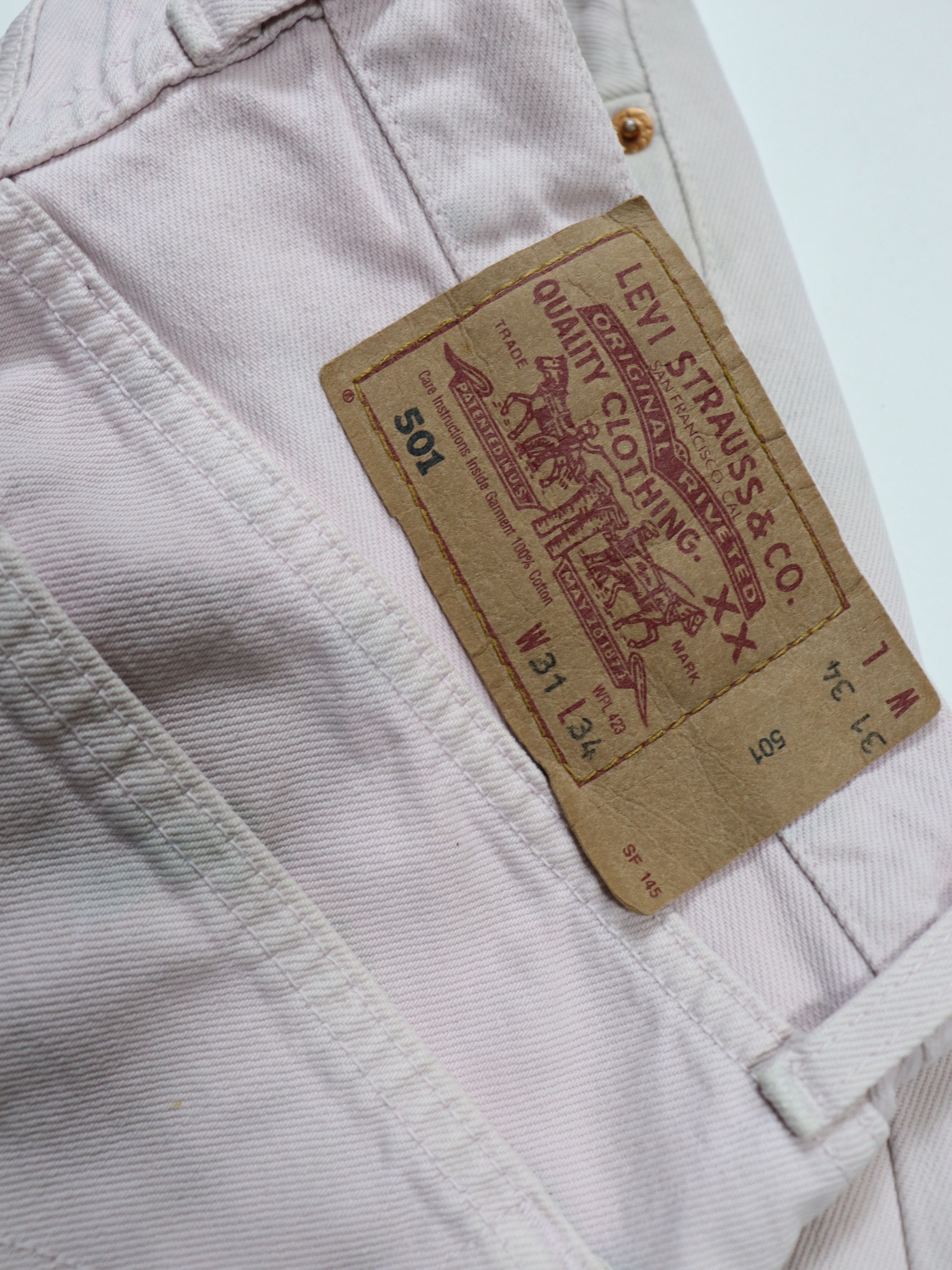1990's Levi's Europe 501 Bleach Denim Pants / Made in France