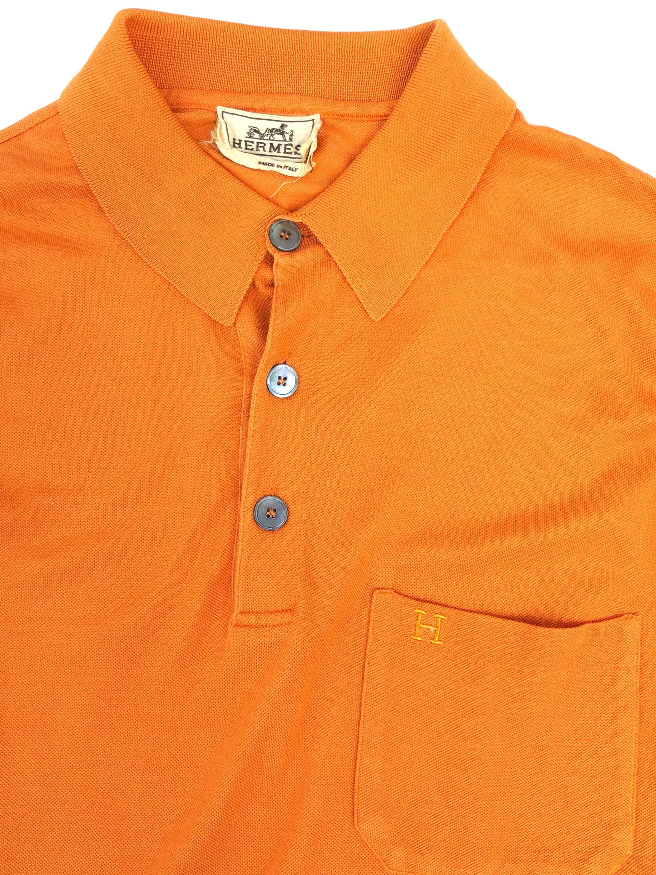 "HERMES / long sleeve polo shirt ""orange "" (USED)"