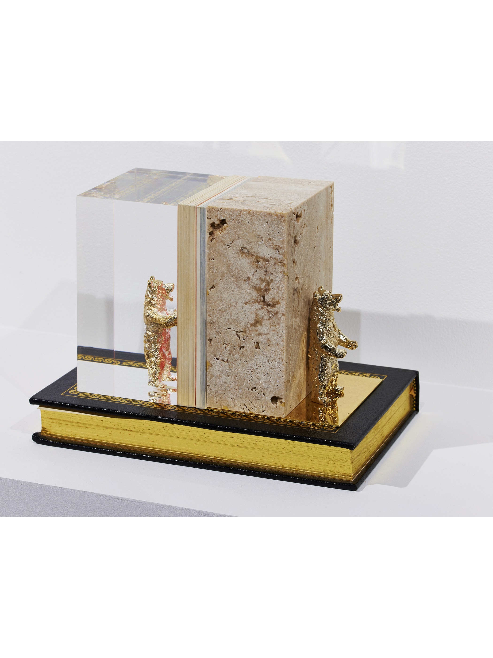 2018 exhibition ''moraltone'' marble bookend S【red travertine】