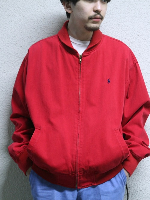 "1990s ""POLO by Ralph Lauren"" cotton clicker blouson -RED-"