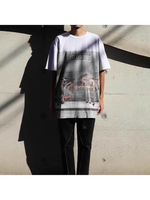 90's MARITHE + FRANCOIS GIRBAUD パネルプリント Tシャツ [XXL]